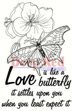 Deep Red Stamps Love Is Like A Butterfly Rubber Cling Stamp