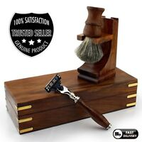 Rosewood Luxury Shaving Set Super Badger Brush, Triple Edge Razor, Stand &Box