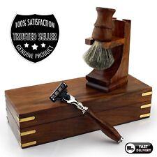 Rosewood Luxury Shaving Set Super Badger Brush, Triple Edge Razor, Stand &Box