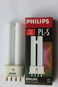 Philips PL-S 2G7 4 pin 5w compact fluorescent lamp bulb warm white 827 2700k