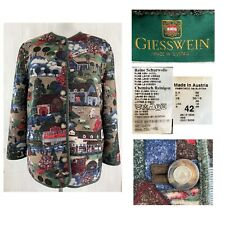 GEISSWEIN Austria EUR 42 Women's Farm Village Scene Wool Button Jacket VINTAGE