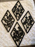 Vintage Home Interior Homco Black Floral Wall Plaques 16 3/4 X 10""
