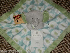 CARTERS SECURITY BLANKET ELEPHANT NEW GRAY AQUA LIME GREEN VELOUR SOFT BOY GIRL