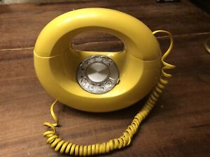 Vintage Western Electric Yellow Rotary Phone Round Banana Donut