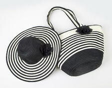 Women's Summer Floppy Paper Straw Sun Hat and Beach Tote Bag Set & Bag Only