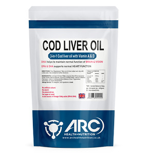 Cod Liver Oil Capsules 1000mg with Vitamin A & Vitamin D, High Strength, Omega 3