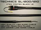 Technics SL-1200/1210 Audio Phono Cable Lead ProteX Black Neutrik/Van Damme 1.2m