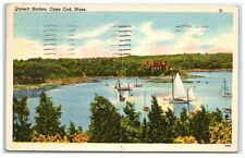 1952 Sailboats on Quisett Harbor, Cape Cod, MA Postcard