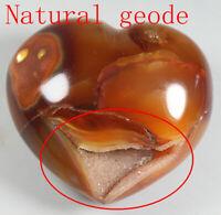 264g Beautiful !!Geode ! Red Orange White CARNELIAN AGATE Crystal Heart Healing
