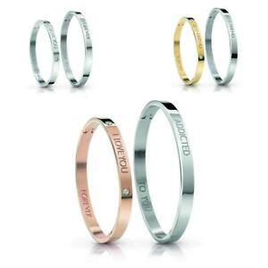 BOX 2 Bracciali Rigidi GUESS LOVERS BANGLE Lui&Lei Acciaio I LOVE YOU
