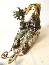 "SANTA CLAUS ST. NICK ON SLEIGH SLED FAUX FUR HAT- SKIS- TREE CHRISTMAS DECOR 17"""