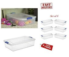 Set of 6 Drawer Storage Box Organizer Under Bed Container Clear Plastic Lid 34Qt