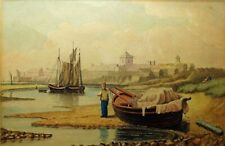 LATE 19TH-EARLY 20TH C BRITISH MARITIME WATERCOLOR (REFRAMED) W/BOATS/FIGURES