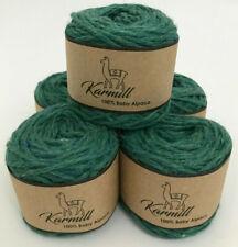 Alpaca Wool Skeins 100% Baby Alpaca Worsted Yarn Lot of 5 Green Melange 6Hi01