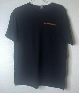 "Porsche  ""Mission 2014, our return"" W/ American and German Flag Black Shirt Sz L"