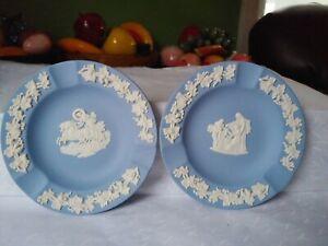Wedgewood Blue Jasperware Set of Two Ashtrays Made in England Never Used NO BOX