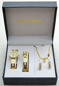 Paul Sabatini Ladies Watch Giftset Necklace Bracelet Earrings GOLD & WHITE