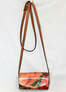 PATRICIA NASH Heritage Amatrice Mini Barrel Crossbody Floral Leather Snap Close