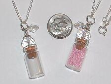 1 fillable Glass Pendant tube bottle vial charm locket NEW*~