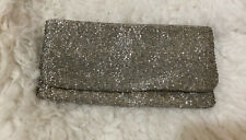 Moyna Beaded Clutch Evening Bag Fold Over Purse Silver Cocktail ~NWOT