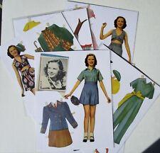 Vintage Paper Dolls - GLORIA JEAN -3 dolls w/clothes & assoc - pre-cutbin
