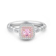 925 Sterling Silve Princess Cut Pink Simulated Diamond Wedding Engagement Ring