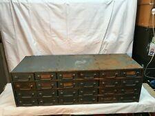 Vtg Metal Industrial 24 Drawer Parts Bin Tool Box 33.5in x 11.5x10.5 tall