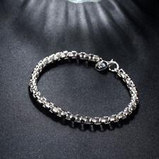 "Women's Fashion Sterling Silver Plated European Chain Link Bracelet 8"""