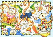 HEAR SPEAK SEE NO EVIL Monkeys-Handcrafted Fridge Magnet-w/Mary Engelbreit art