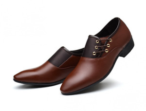 Men's Leather Dress Formal Solid Business Round Toe Oxford Occupational Shoes
