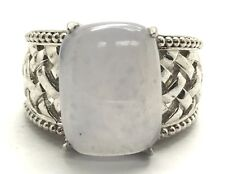 Sterling Silver 925 Cabochon Blue Lace Agate Wide Basket Weaved Cocktail Ring 7