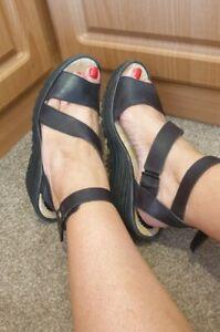 Fly London Wedge Black Strap Sandals Size UK 7