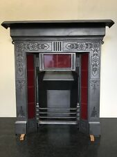 Original Restored Antique Cast Iron Victorian Tiled Fireplace Insert Small TA453