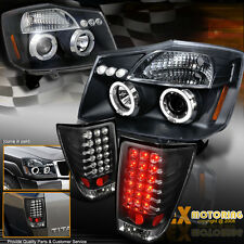 NEW For 2004-2014 Nissan Titan Halo Projector Headlights + LED Tail Lights Black