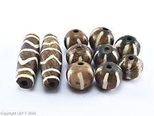 Lot 10 OLD Burma Pumtek PYU Beads Original Fossil Wood Vintage Zigzag Bead C320