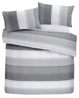 CLASSIC WIDE STRIPE GREY WHITE COTTON BLEND DOUBLE DUVET COVER