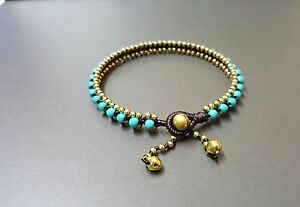 Simple Turquoise Brass  Anklet