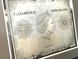 """Cook Islands Historical Maps """"Universalis Cosmographia""""  Foil Note 30 g Silver."""