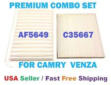 PREMIUM ENGINE & CABIN AIR FILTER COMBO SET FOR TOYOTA CAMRY & VENZA 4 CYL ONLY