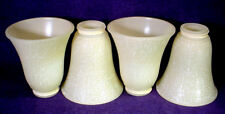 "4 Sconce Lamp Shade Set Beige Frosted Glass 2-1/4"" Fitter Hood Wall Floor Fan"