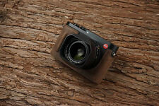 Genuine Real Leather Half Camera Case Bag Cover for Leica Q Typ 116 Dark Brown