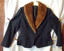Anne Klein Women's 10P Blazer/Jacket Black Wool Blend Detachable Faux Fur Collar