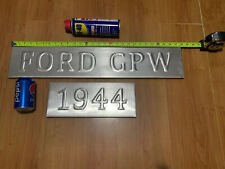 FORD GPW 1944 Brushed Alloy Sign Wood Backed Free Postage Willys Jeep Man cave