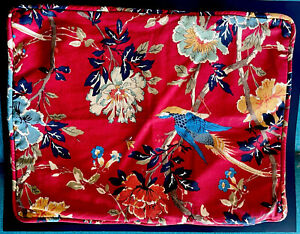 Pottery Barn Red Bird Brighton Pillow Sham Linen Blend Standard Sham Covers X 2