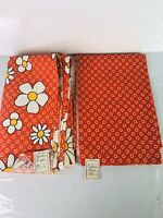 Vintage Fabric Remnants 2 Pc Lot Floral & Circles Upholstery Thick Orange Red