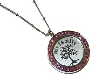 Pink My Family Tree Birthstone Locket Necklace Floating Glass Charm Jewelry USA