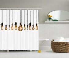 Antique Edison Bulb Graphic Shower Curtain Retro Industrial Hanging Bulbs Decor