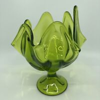 VINTAGE VIKING GREEN GLASS EPIC HANDKERCHIEF SWUNG VASE COMPOTE BOWL DISH 7.25""