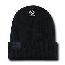 Black USA Flag Patch US American TBL Patriotic Knit Skull Beanie Cuff Hat