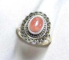 Rosa Koralle Engelshaut Ring 925 Silber Gr. 15,6 (49) seltenes UNIKAT neu